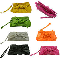 Girl Women Pouch Clutch Bag Zipper Purse Ribbon Wristlet Soft Synthetic Leather