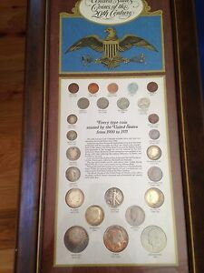 1899-1971-United-States-Coins-of-the-20th-Century-25-Coins-in-Wood-Plaque-E5472