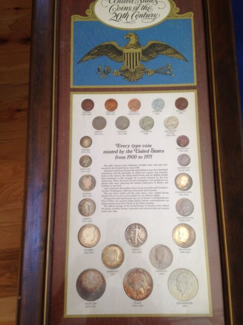 1899-1971 United States Coins of the 20th Century 25 Coins in Wood Plaque E5472