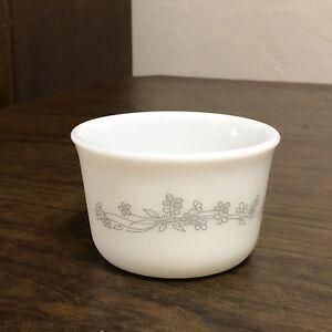 Rare Pyrex RIBBON BOUQUET Open Sugar Bowl GRAY FLOWERS Custard Cup