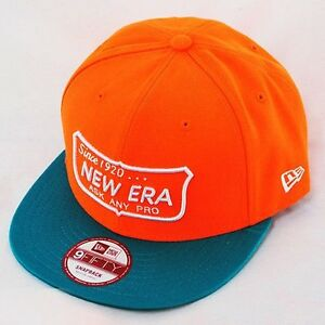 New-Era-9fifty-Poser-Pro-Visiere-Plate-Snapback-Casquette-Orange-Fluo-Sarcelle