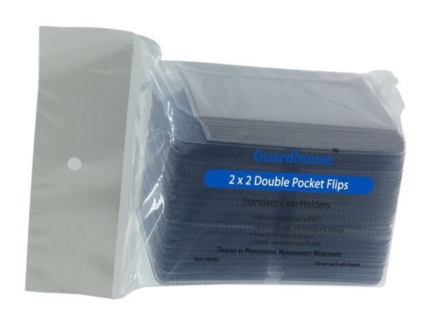 2x2 Vinyl Coin Flips Double Pocket Holders 100 Pack Inserts Guardhouse Clear