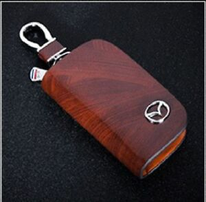 Mazda Leather Car Key Keychain Fob Case Holder Zipper Cover High Quality Brown