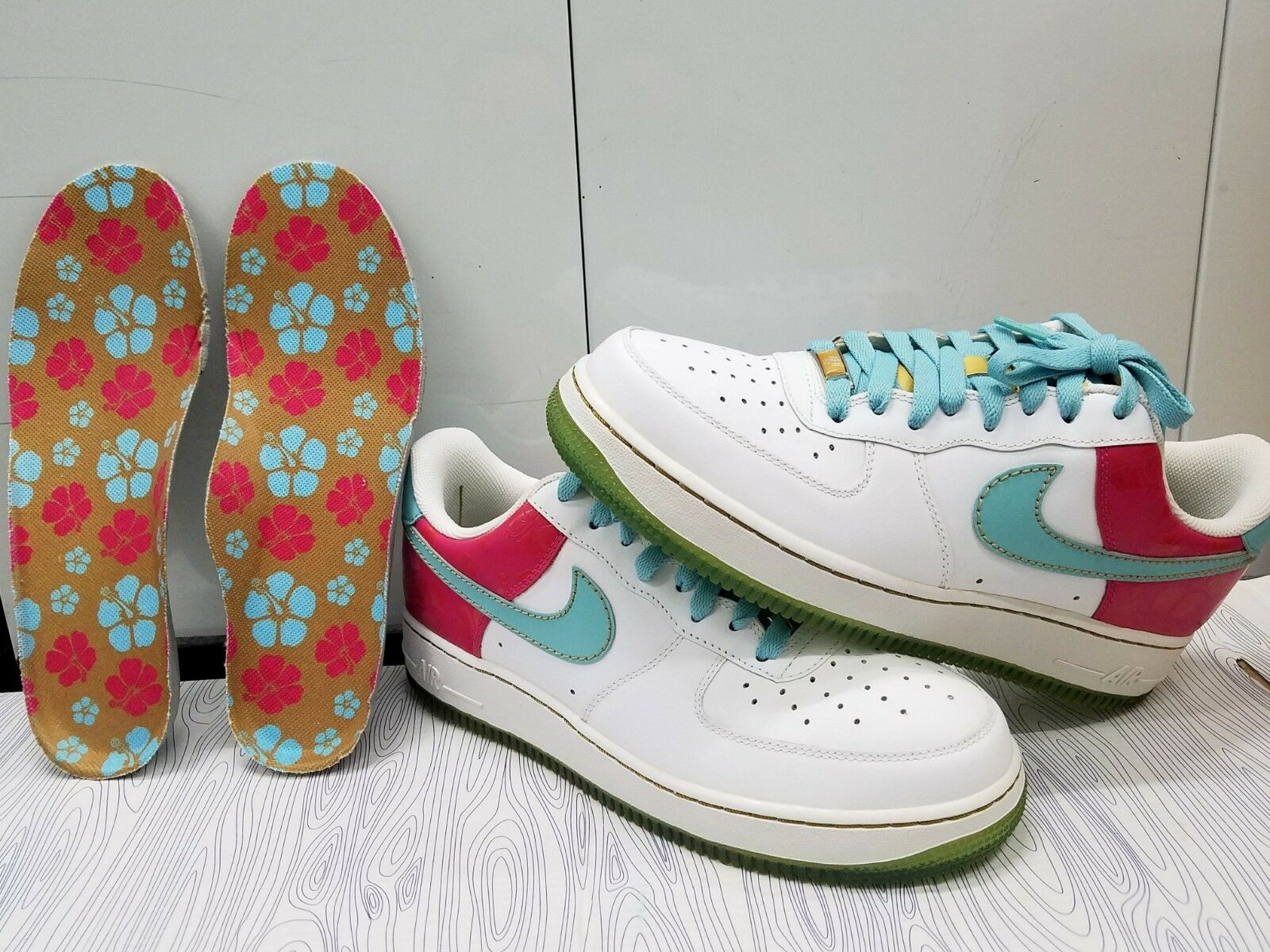 BRAND NEW NIKE AIR FORCE ONE HAWAII EDITION AQUA/WHITE/PINK MEN'S SZ 8.5 2018