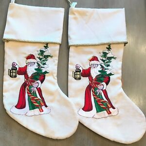image is loading 2 christmas stockings embroidered white red holiday santa