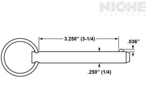 25 Pieces Detent Pin 1//4 x 3-1//4 MCS ZC