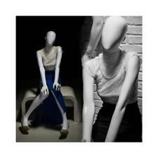 Adult Seated Glossy White Faceless Fiberglass Female Fashion Mannequin