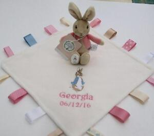 Image is loading Flopsy-Bunny-Rattle-Peter-Rabbit-Taggy-Blanket-Personalised -