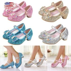 Girl Sequin Bownot Princess Shoes Kids Glitter Wedding Dance Low Heel Shoes Size
