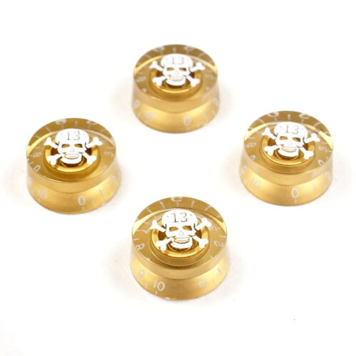 Amber Gold With White Skull Mark 4 x Speed Knobs Hatbox Guitar Knobs