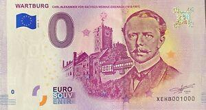 BILLET 0  EURO WARTBURG EISENACH   ALLEMAGNE 2018  NUMERO 1000