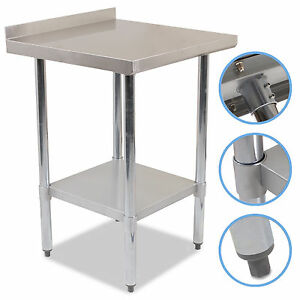 36 x 24 stainless steel catering kitchen food worktop splashback table bench ebay - Commercial kitchen tables on wheels ...