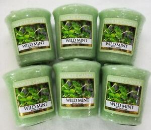 Yankee-Candle-Votives-WILD-MINT-Wax-Melts-Lot-of-6-Green-New-Fresh