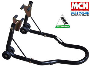 NEW-UNIVERSAL-MOTORCYCLE-SPORTBIKE-TRACK-DAY-GARAGE-FRONT-PADDOCK-STAND-BLACK