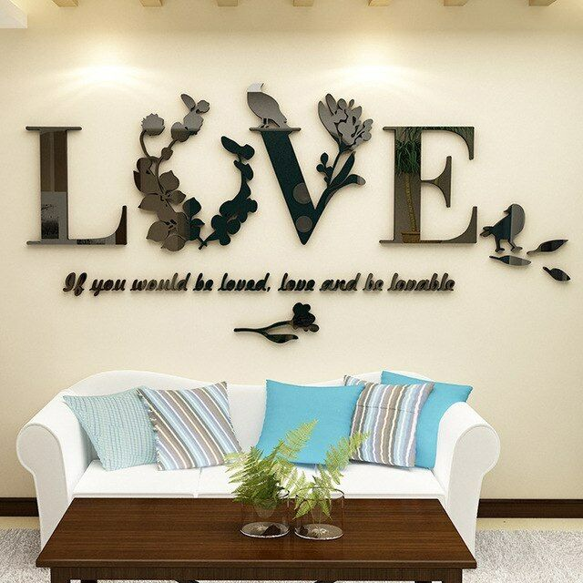 3d leaf love wall stickers lettering art quote sticker for living
