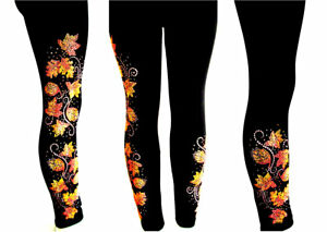 REGULAR-amp-PLUS-SIZE-LONG-LEGGINGS-Embellished-Rhinestone-amp-Stud-Autumn-Leaves