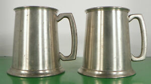 Sheffield-Pewter-Glass-Bottom-Tankard-s-LOT-OF-2-Made-in-England