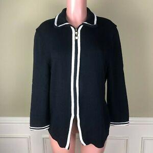 St-John-Womens-Cardigan-Jacket-Top-Santana-Knit-Black-Ivory-Trim-Zip-Front-Sz-14