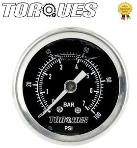 Torques-Analog-Fuel-Pressure-Gauge-1-8-034-NPT-Black-Back-Fed-0-7-BAR-0-100-PSI