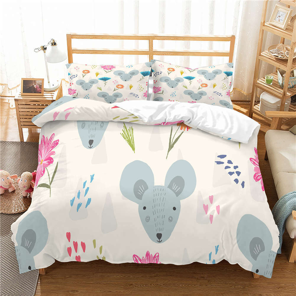 grau Small Mouse 3D Quilt Duvet Doona Cover Set Single Double Queen King Print