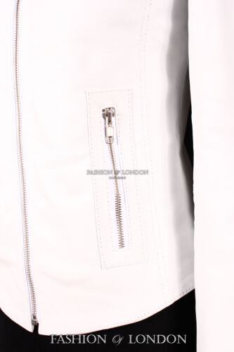 Ladies RUSH White Nappa Lambskin Biker Girl Style Fitted Real Leather Jacket