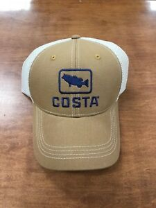 COSTA DEL MAR XL BASS TRUCKER HAT WORKING BROWN NEW FOR 2018  3530e0d902af
