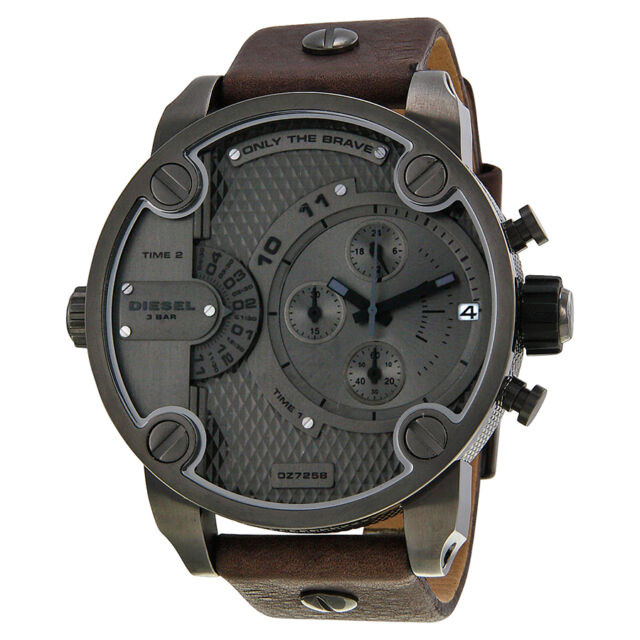 Diesel Only The Brave Chronograph Dual Time Zone Dial Brown Leather Mens Watch
