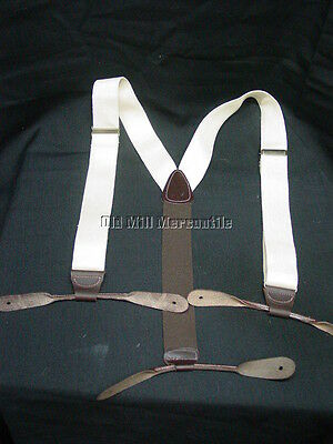 """Men's Old West Victorian style 1.5"""" CANVAS braces suspenders leather ends"""