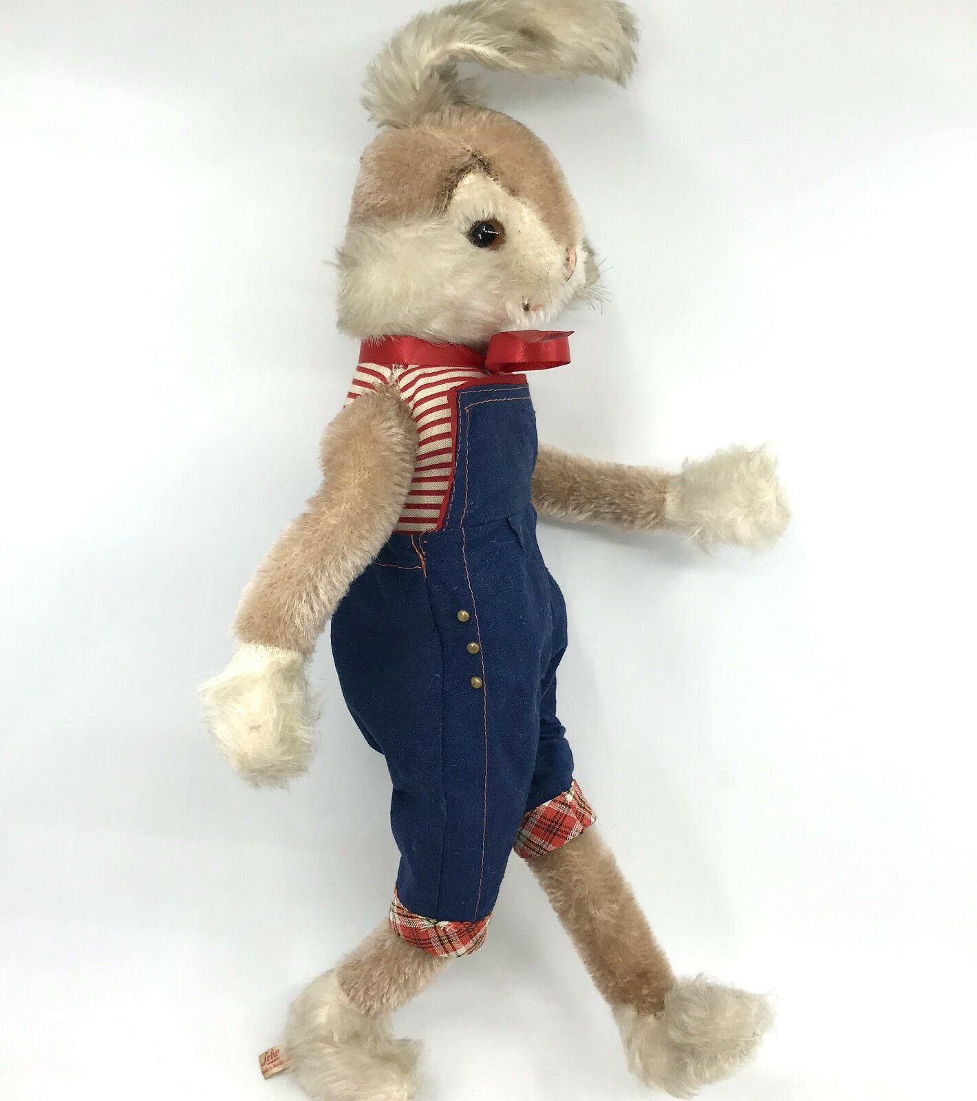 Schuco Rabbit Doll Bigo Bello Flexi 38cm 15in Tag Squeaker 1960s Denim Overalls
