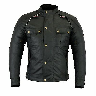 Classic Wax Cotton Motorcycles Textile Jackets Motorbike CE Armour Sara Moto