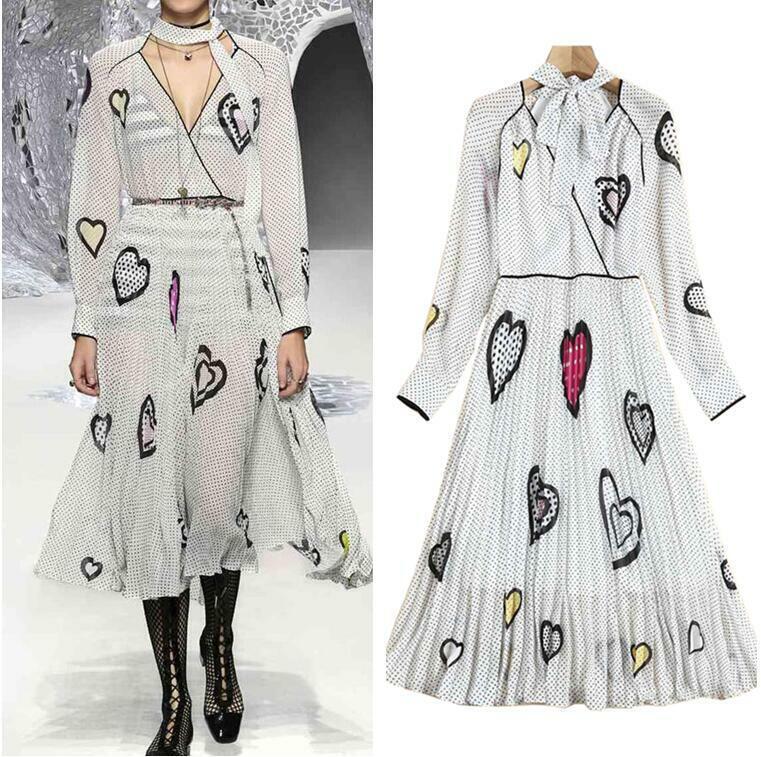 Pista occidental Mujeres Diseñador Lunares Vestido  Largo Plisado de patrón de corazón  Disfruta de un 50% de descuento.