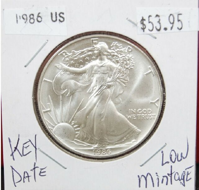 1986 American Silver Eagle BU Coin 1 oz US $1 Dollar Uncirculated Key Date *86