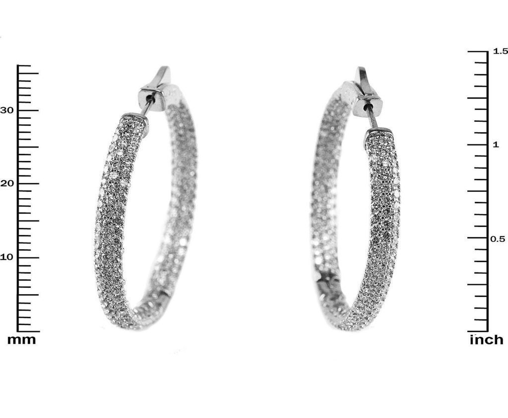 Pave 5A Cubic Zirconia CZ Rhodium CZ Insideout Side Domed Hoop Earrings37mm