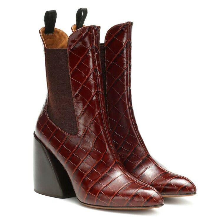 donna Trendy Pointy Toe Pietra Serpentine Chelsea  stivali Block High Heels  nuova esclusiva di fascia alta