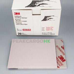 20-PKG 3M Softback Sanding Sponge Hand Abrasive Sheet SUPER FINE GRIT 500-600 UK