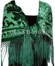 Emerald Green Silk Burnout Velvet Piano Shawl Wrap Fringed Scarf Maya Matazaro