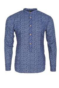 Eleventy-Shirt-Homme-40-Bleu-Sombre-Coton-egyptien-A-fleurs