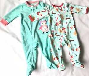 Carter s Baby Girl Footed Sleepers 3-6   6M Lot Of 2 Santa   Owl ... 64217e91d