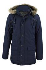 Mens Fishtail Parka Jacket Coat Firetrap 'Bateman' Wolf Faux Fur Trim Hood