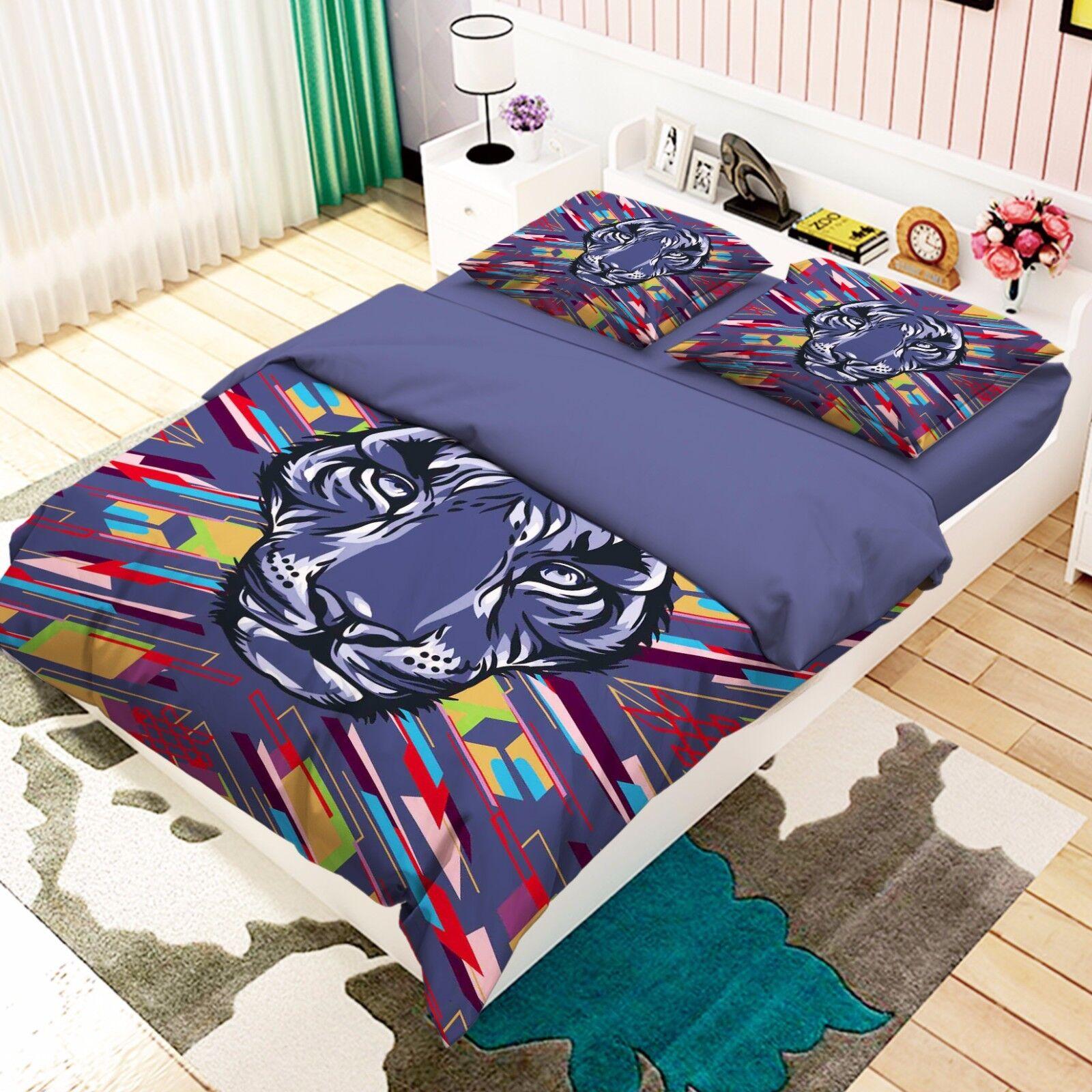 3D Tiger Head 26 Bed Pillowcases Quilt Duvet Cover Set Single Queen King Size AU