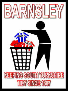 Barnsley-Keeping-Football-Tidy-Sign-Metal-Aluminium-Football-Fc-Oakwell