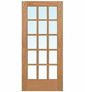 15 lite red oak clear tempred glass stain grade solid - Solid wood interior doors with glass ...