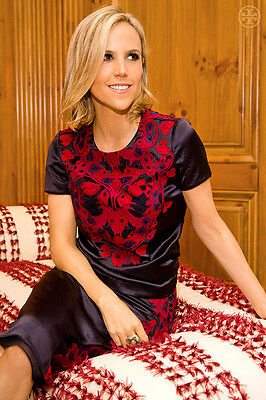 NWT Tory Burch Tia Top $495 Navy Gorgeous red Embroidery RARE size 10 size 12