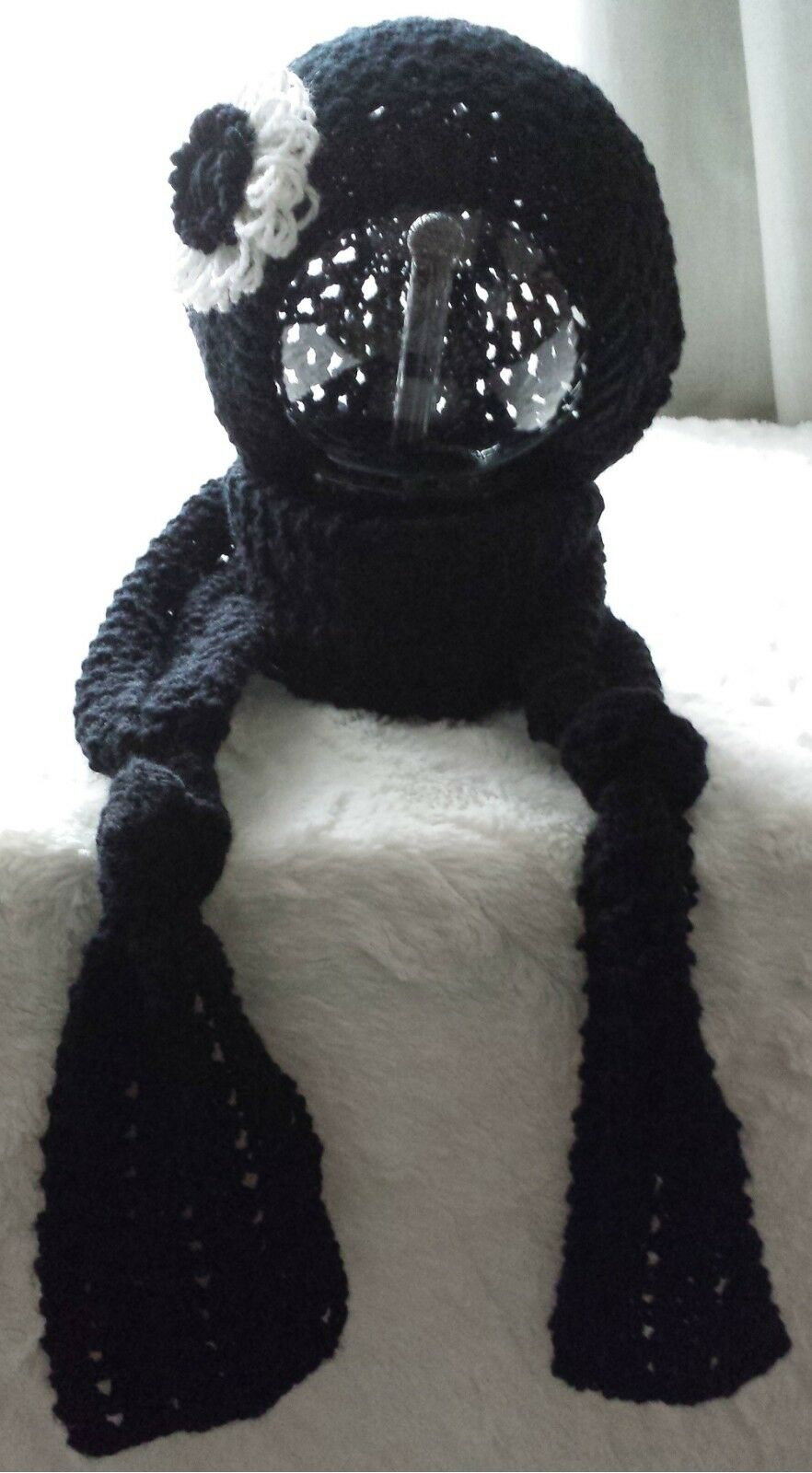 Hand knitted ladies black scarf and beret set