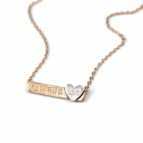 """FREE P/&P BNWT SILVER-PLATED /""""ALL YOU NEED IS LOVE/"""" NECKLACE ROSE GOLD FINISH"""