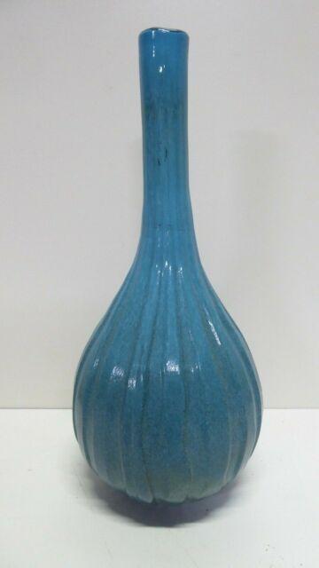 VINTAGE TALL BLUE ITALIAN OVERLAY GLASS VASE