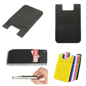 Silicone Mobile Phone Credit ID Card Wallet Sticker Adhesive Holder Case