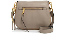 NWT Marc Jacobs Recruit Saddle Bag CEMENT/GOLD Leather  Zip $375