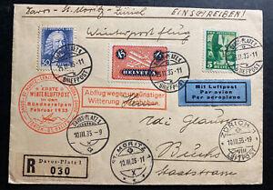 1935-Davos-Switzerland-Winter-Flight-Airmail-Cover-To-Zurich
