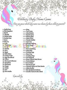 Celebrity Baby Names Baby Shower Game Cute UNICORN SILVER ...